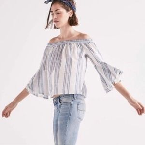 Lucky Brand Striped Bell Sleeve Off Shoulder Top
